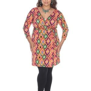 Plus Size Wrap Dress Patterned PS829